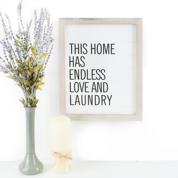 This Home Has Endless Love and Laundry Wall Plaque, MDF, White & Black, 12 1/2 x 15 3/4 inches