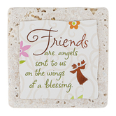 Product Concept Manufacturing, Friends Are Angels Tile Plaque, 4 x 4 inches