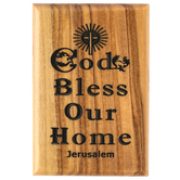 Logos Trading Post, God Bless Our Home Magnet, Olive Wood, 2 3/8 x 1 5/8 inches