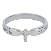 Spirit & Truth, Proverbs 31, Be Still Small Cross, Women's Ring, Stainless Steel, Sizes 5-9