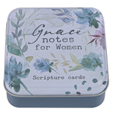 Christian Art Gifts, GraceNotes for Women Scripture Cards in Tin Set, White, Blue, and Green Watercolor, 50 Cards