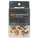 On Schedule, Wood Push Pins, 7/8 Inches, Pack of 40