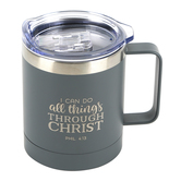 Christian Art Gifts, Philippians 4:13 I Can Do All Things Camp Mug, Stainless Steel, Gray, 12 ounces