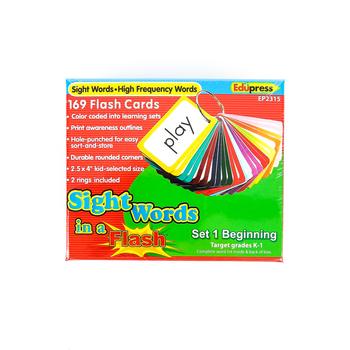 Edupress, Sight Words Flash Cards, Grades K-1, Set 1, 169 Pieces