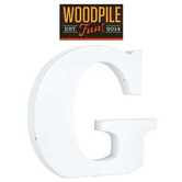 Woodpile Fun, Stand Alone Wood Letter - G, 3 inches, White