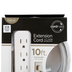 Cordinate, Designer 3-Outlet Extension Cord with Surge Protection, 10-Foot, Indoor, Gray and White
