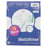 Pacon, MathNotes Grid Paper, 1/2-Inch Grid Ruled, 3-Hole Punched Filler, White, 150 Sheets, Grades K-6