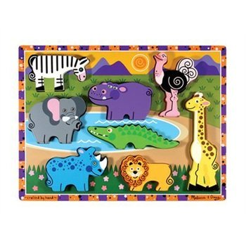 Melissa & Doug, Chunky Safari Wooden Puzzle, Ages 2 to 4 Years Old, 8 Pieces