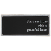 Start Each Day With A Grateful Heart Wall Decor, Galvanized Metal, Whitewash, Black, 12 x 5 1/4 x 1 1/4 inches