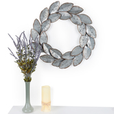Metal Leaf Wreath Wall Decor, Galvanized Metal, 20 x 1 1/2 inches