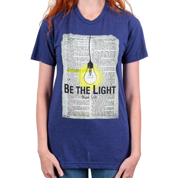 His Word Clothing Company, Matthew 5:14 Be the Light, Women's Short Sleeve T-shirt, Dark Blue, S-2XL