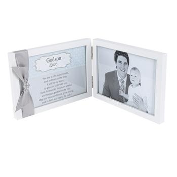 The Grandparent Gift Co, Godson Sentimental Photo Frame, Metal, Gray, 4 x 6 Inches
