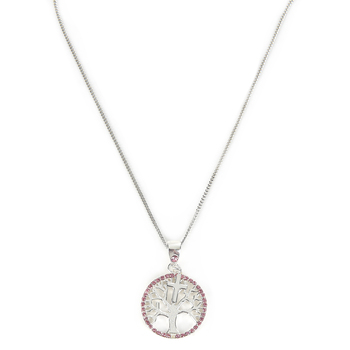 H.J. Sherman, Tree of Life with Cross Charm Pendant Necklace, Sterling Silver, 18 inches