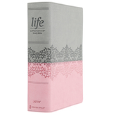 NIV Life Application Study Bible, 3rd Edition, Large Print, Imitation Leather, Gray & Pink