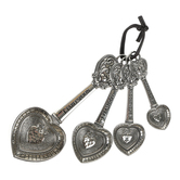 Ganz, Hearts Measuring Spoons, Zinc, Silver-tone, 7 x 3 inches, 1 Each of 4 Spoons