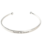 Bella Grace, Ephesians 2:8, Saved By Grace Bangle Bracelet, Brass, Silver-tone