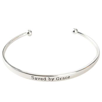 Bella Grace, Ephesians 2:8, Saved By Grace Bangle Bracelet, Brass, Silver-tone