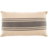 Cream and Gray Striped Lumbar Pillow, Polyester and Cotton, 23.25 x 13.50 x 6.50 Inches