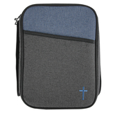 Dicksons, Cross Embroidered Bible Cover, Polyester Canvas, Blue and Black, Multiple Sizes Available