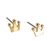 Gifts of Faith, Faithworks, Leather Tag Daughter of the King Crown Stud Earrings, Metal, Gold, 1/4 inches