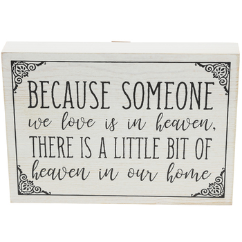 Because Someone We Love Is In Heaven Wall Plaque, MDF, Black & Cream, 6 5/8 x 9 3/8 x 1 1/2 inches