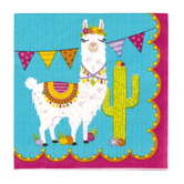 Llama Party Paper Napkins,Small 5-inch Square, Southwest Colors, 25 Count