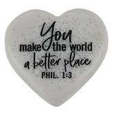 LCP Gifts, Philippians 1:3 You Make The World A Better Place Pocket Heart, Cast Stone, 2 1/4 inches