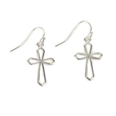 Howard's, Ear Sense, Drop Cross Dangle Earrings, Silver, 7/8 Inches