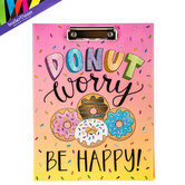 Brother Sister Design Studio, Donut Worry Be Happy Clipboard Folder, 9 1/2 x 12 1/2 inches