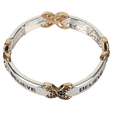 Oori Trading, Believe Link Stretch Bracelet, Silver and Gold Plated, 1 Piece