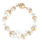 His Truly, Pearl and Gold Bracelet, Zinc Alloy, Brushed Gold and Cream