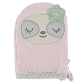 Stephen Joseph, Sloth Baby Bath Mitt, Cotton, Pink, 5 1/2 x 8 inches