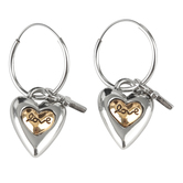 Bella Grace, Love Heart with Cross Dangle Earrings, Zinc Alloy, Silver and Gold
