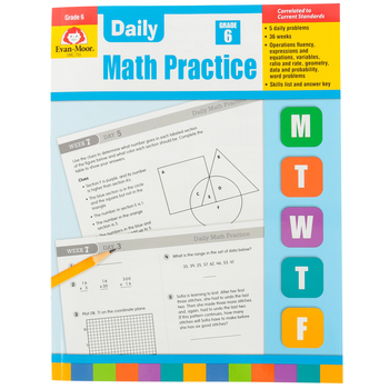 Evan-Moor, Daily Math Practice Teacher's Edition, Paperback, 128 Pages, Grade 6
