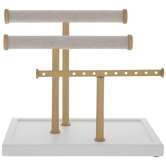 Gadgets And Gizmos, Bracelet Bar, Wood and Metal, White and Gold, 4 5/8 x 7 9/16 x 6 3/4 inches