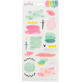 American Crafts, Creative Devotion Texture Accent Stickers, Pastel Watercolor, 48 count