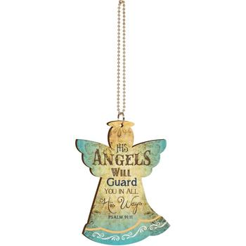 P. Graham Dunn, Psalm 91:11 His Angels Will Guard You Car Charm, Wood