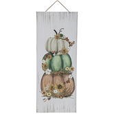 Stacked Pumpkins Wall Plaque, Wood, 9 1/2 x 23 1/2 inches