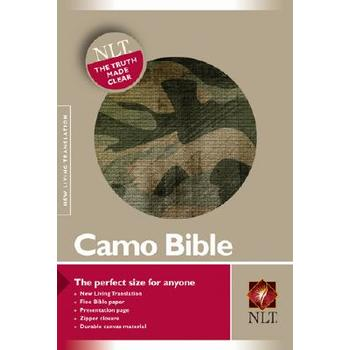 NLT Camo Bible with Zipper, Fabric, Green Camouflage