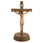 Roman, Inc., Crucifix Figurine with Detailed Base, Resin, 8 1/2 inches