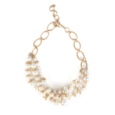 His Truly, Pearl and Gold Triple Strand Necklace, Zinc Alloy, Brushed Gold and Cream, 18 Inch Chain