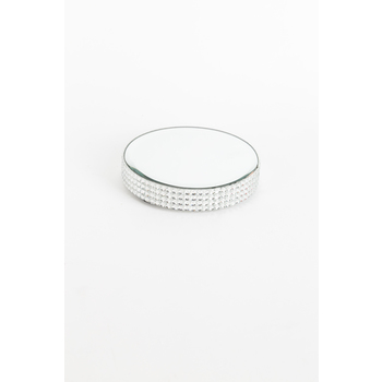Mirrored Pillar Candle Plate with Gems, 4 x 3/4 inches