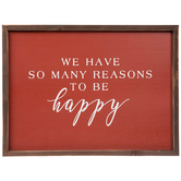 We Have Many Reasons To Be Happy Wall Decor, MDF, Dark Red and Brown, 10 7/8 x 14 7/8 x 1 inches