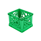 Storex, Micro Crate, Green, 5.80 x 6.75 x 4.80 Inches, 1 Piece