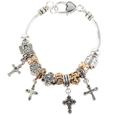 Oori Trading, Cross and Heart Charm Bracelet, Silver and Gold