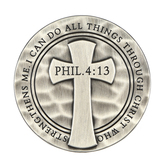 Dicksons, Philippians 4:13 I Can Do All Things Auto Visor Clip, Metal, Silver, 2 1/8 Inches