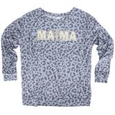 Southern Grace, Lightning Bolt Mama, Women's Long Sleeve Fashion Top, Leopard Print, Small