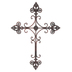 Brushed Metal with Fleur-de-Lis Wall Cross, Reddish Bronze, 35 x 26 inches