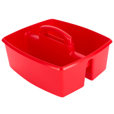 Storex, Large Caddy, Red, 2 Compartments, Plastic, 13 x 11 x 6.38 Inches, 1 Piece