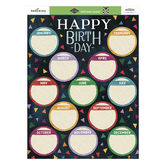 Color Me Brilliant Collection, Customizable Happy Birthday Chart, 17 x 22 Inches, Multi-Colored, 1 Piece